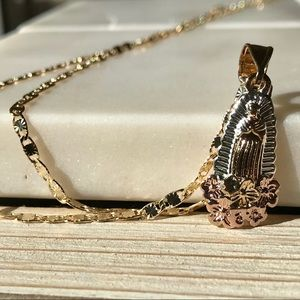 Jewelry - Tricolor Gold Our Lady Of Guadalupe Necklace